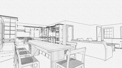 Rendering options for Interior designs kitchen sketches